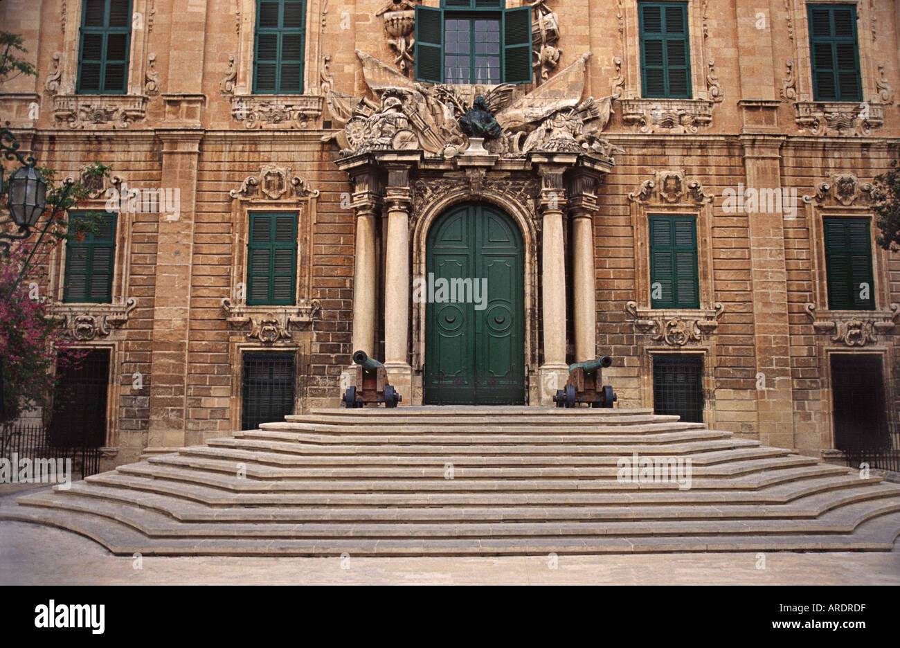 Steps leading to the ornately decorated faced of the Office of the Prime Minister of Malta Valletta Malta - Stock Image