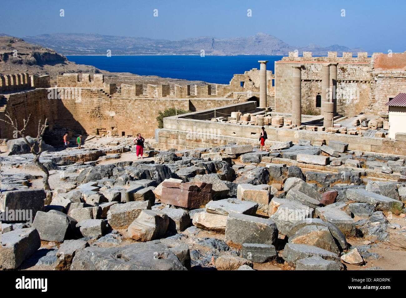 Inside the Acropolis at Lindos, Rhodes, Dodecanese Greece. Stock Photo