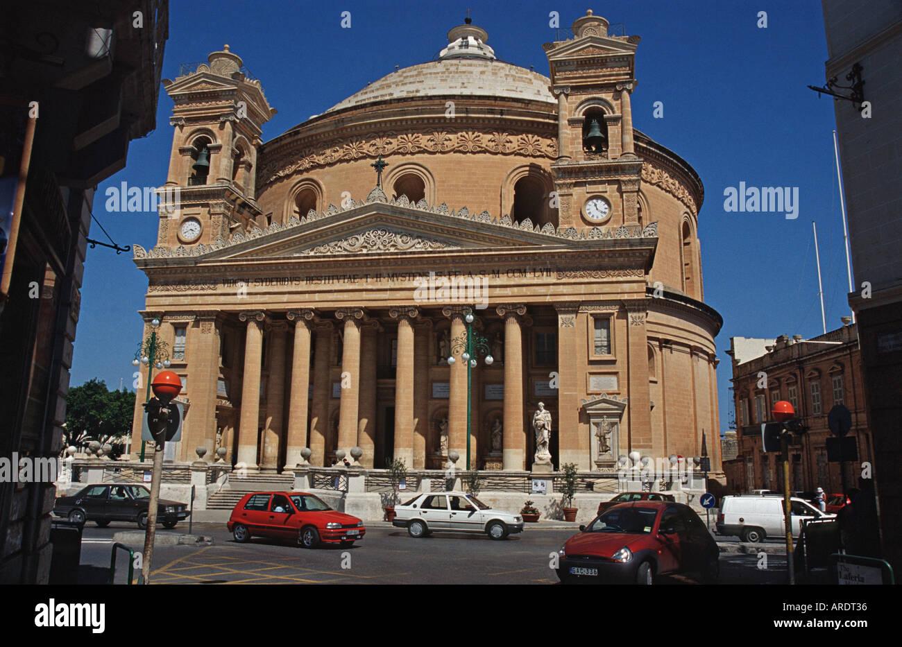 Santa Marija rotunda church Mosta Malta Saint Mary Mosta or Mosta Dome - Stock Image