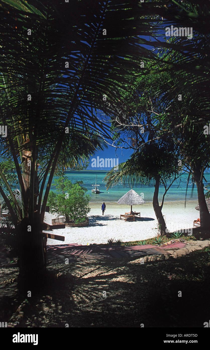 The idyllic tropical beach infront of the Pole Pole Lodge Mafia island Tanzania - Stock Image