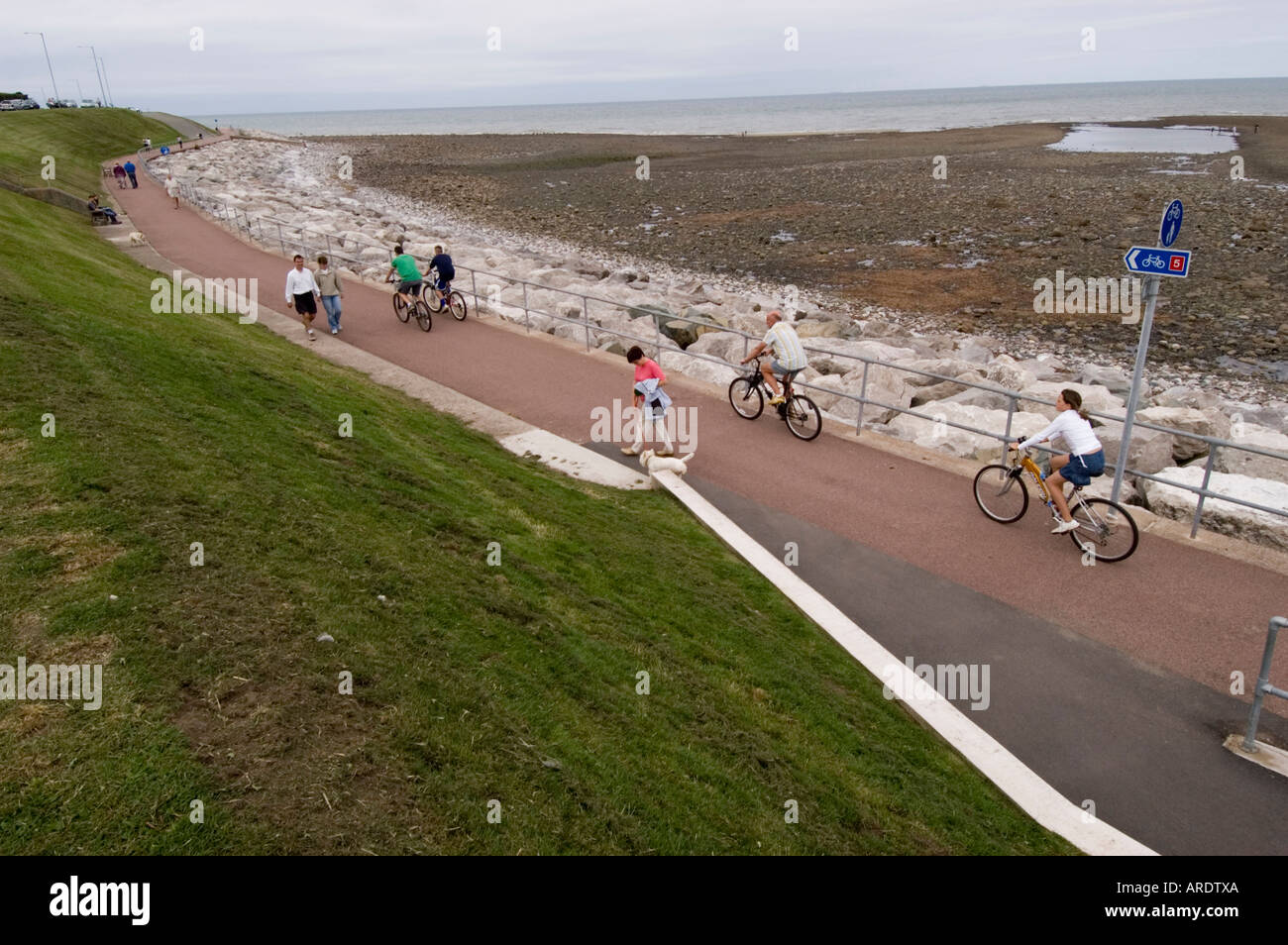 North Wales Cycle Path at Rhos on Sea - Stock Image