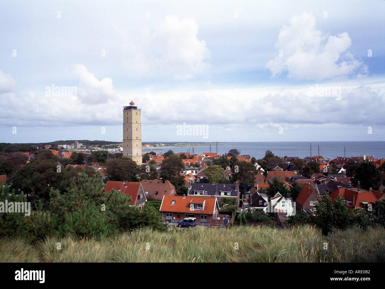 Terschelling, Leuchtturm und Blick auf West-Terschelling, - Stock Image