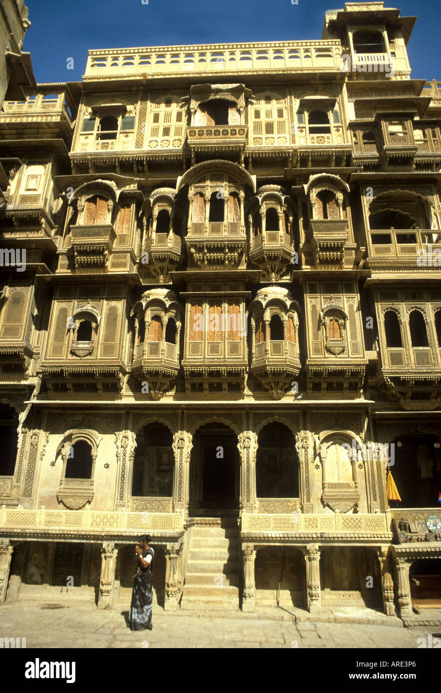 exquisitely Traditionally carved sandstone haveli (merchants house) in Jaiselmar Rajasthan India - Stock Image