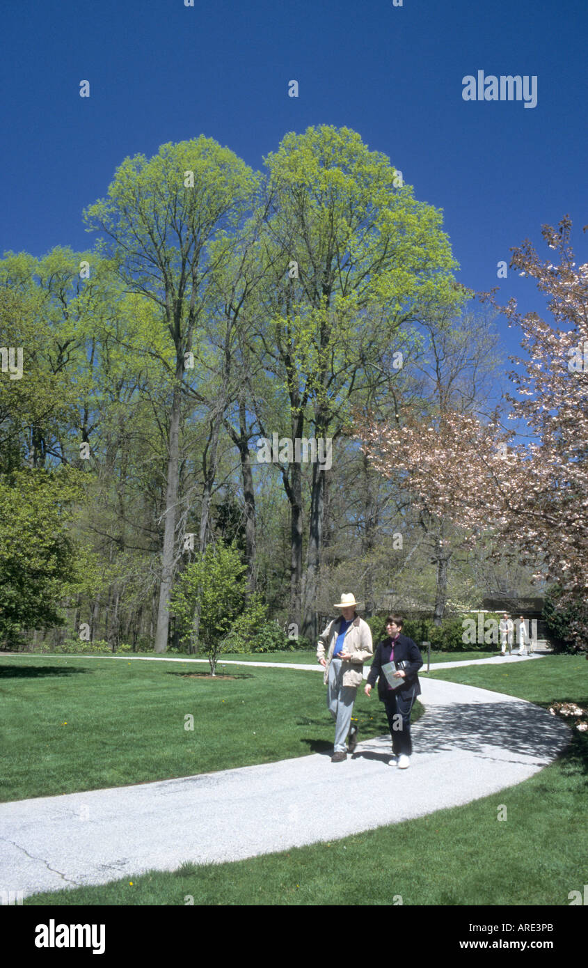 older couple enjoying their retirement free time in Longwood Gardens Philadelphia USA - Stock Image