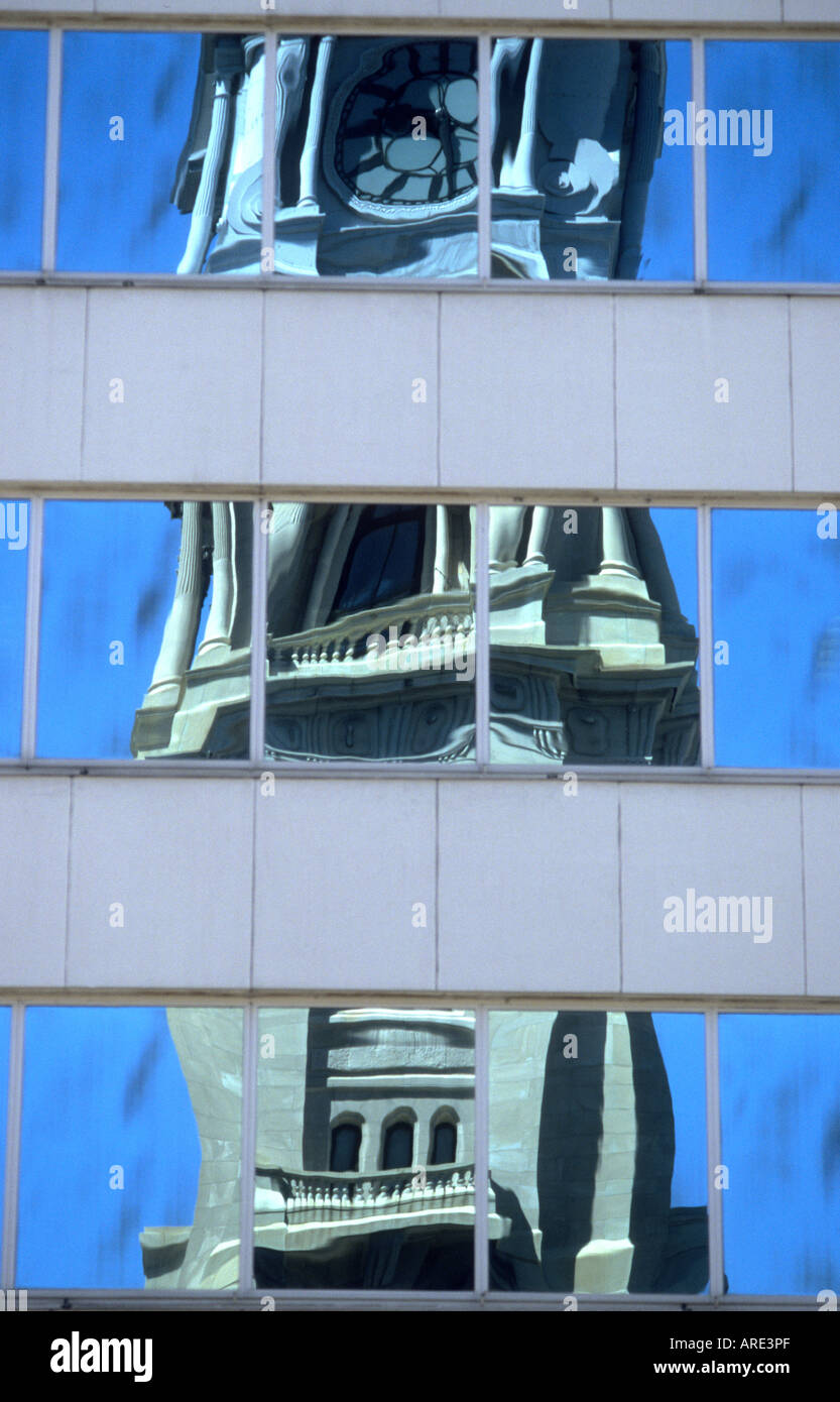 Reflection of the City Hall in the windows of a nearby skyscraper in Philadelphia USA - Stock Image