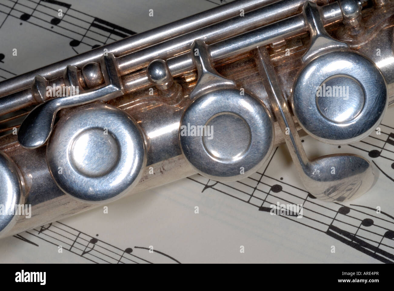 close up of a flute and sheet music - Stock Image
