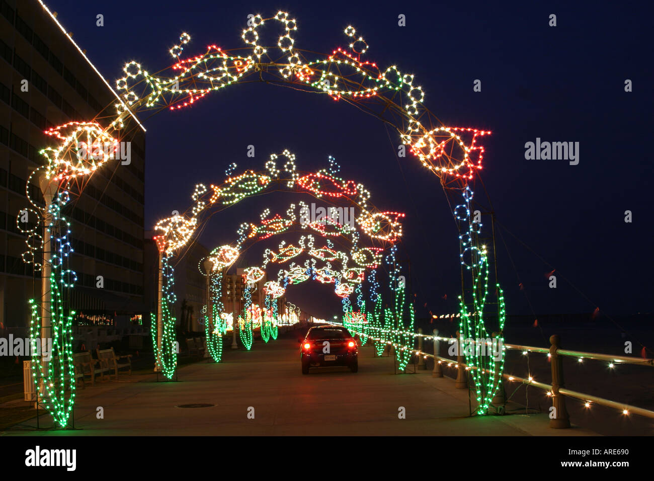 virginia beach virginia atlantic shore oceanfront holiday lights display boardwalk drive through stock image - Virginia Beach Christmas Lights