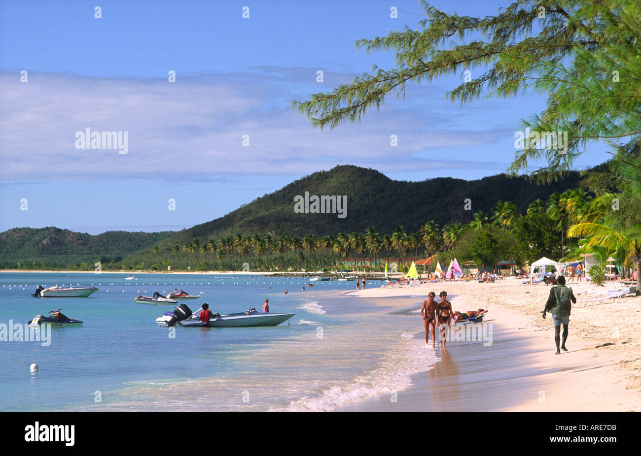Antigua. North along Valley Church Bay and Lignum Vitae Bay to Jolly Harbour on west coast of Caribbean island of Antigua - Stock Image
