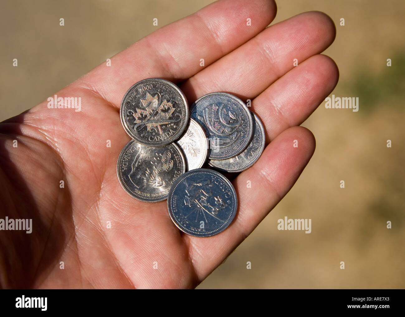 Canadian millennium commemorative coins in palm of hand Canada - Stock Image