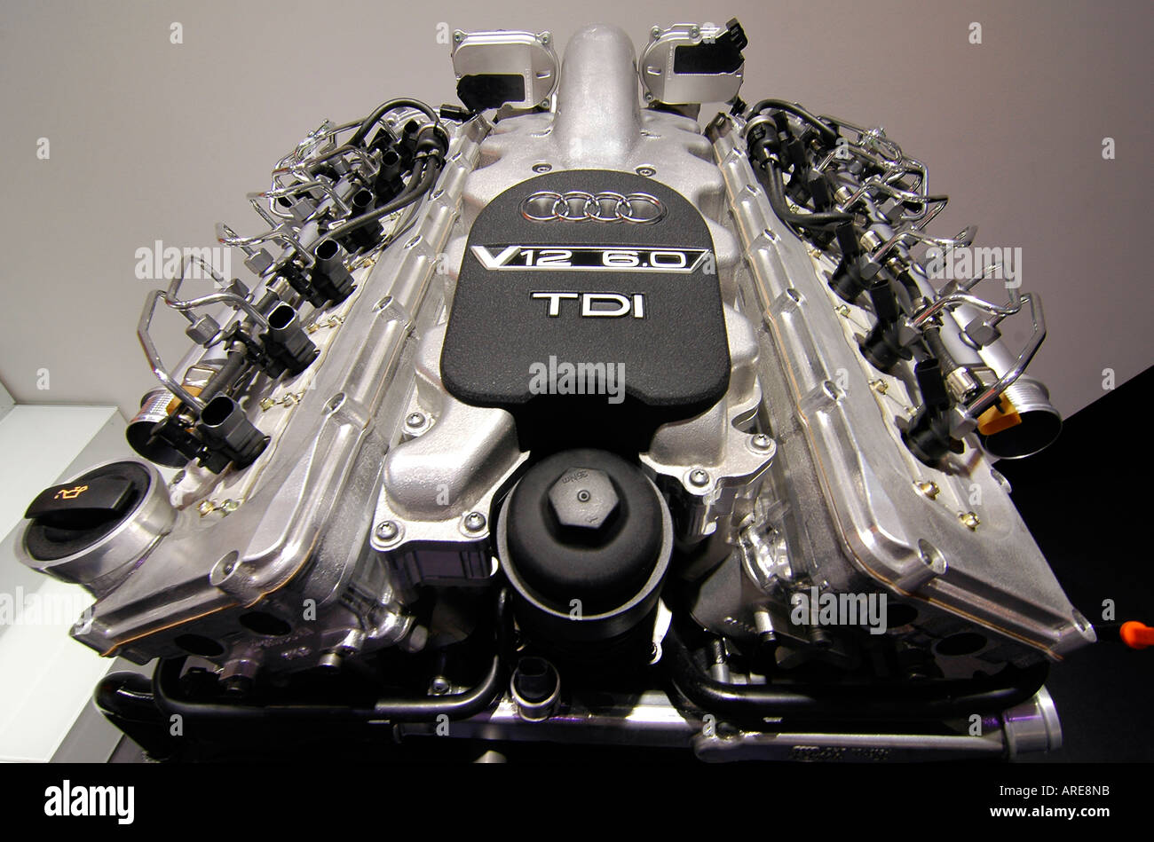 A state of the art V12 engine exhibited at the International Motor Show in Paris. - Stock Image