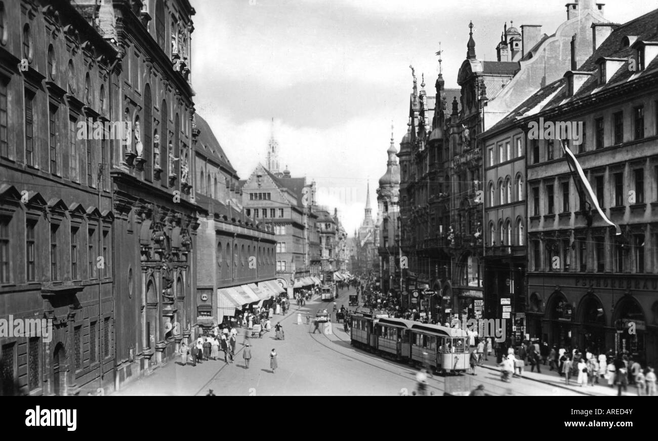 geography / travel, Germany, Munich, Neuhauser Strasse, postcard by Rolt Kellner, circa 1930s, , Additional-Rights - Stock Image