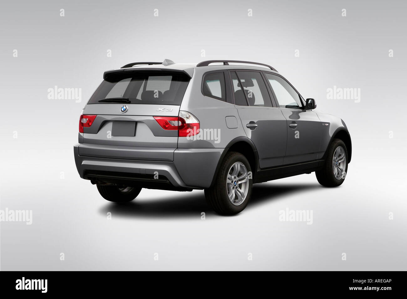 2006 BMW X3 3.0i in Silver - Rear angle view Stock Photo: 16030461 ...