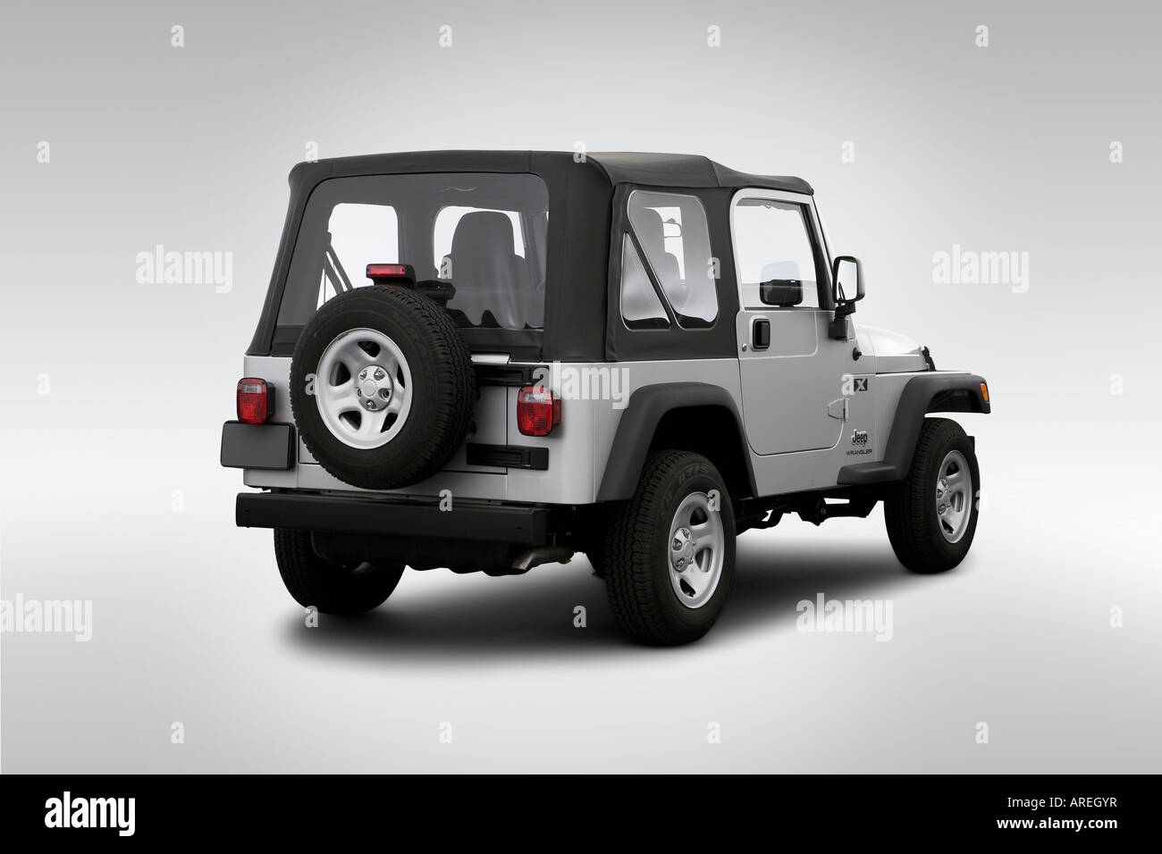 2006 Jeep Wrangler X In Silver   Rear Angle View   Stock Image