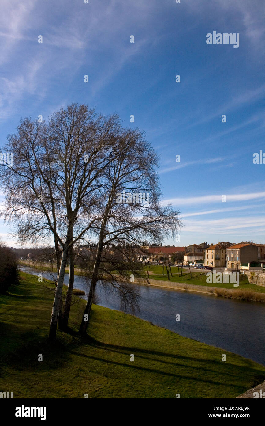 the river Aude in carcassonne France - Stock Image