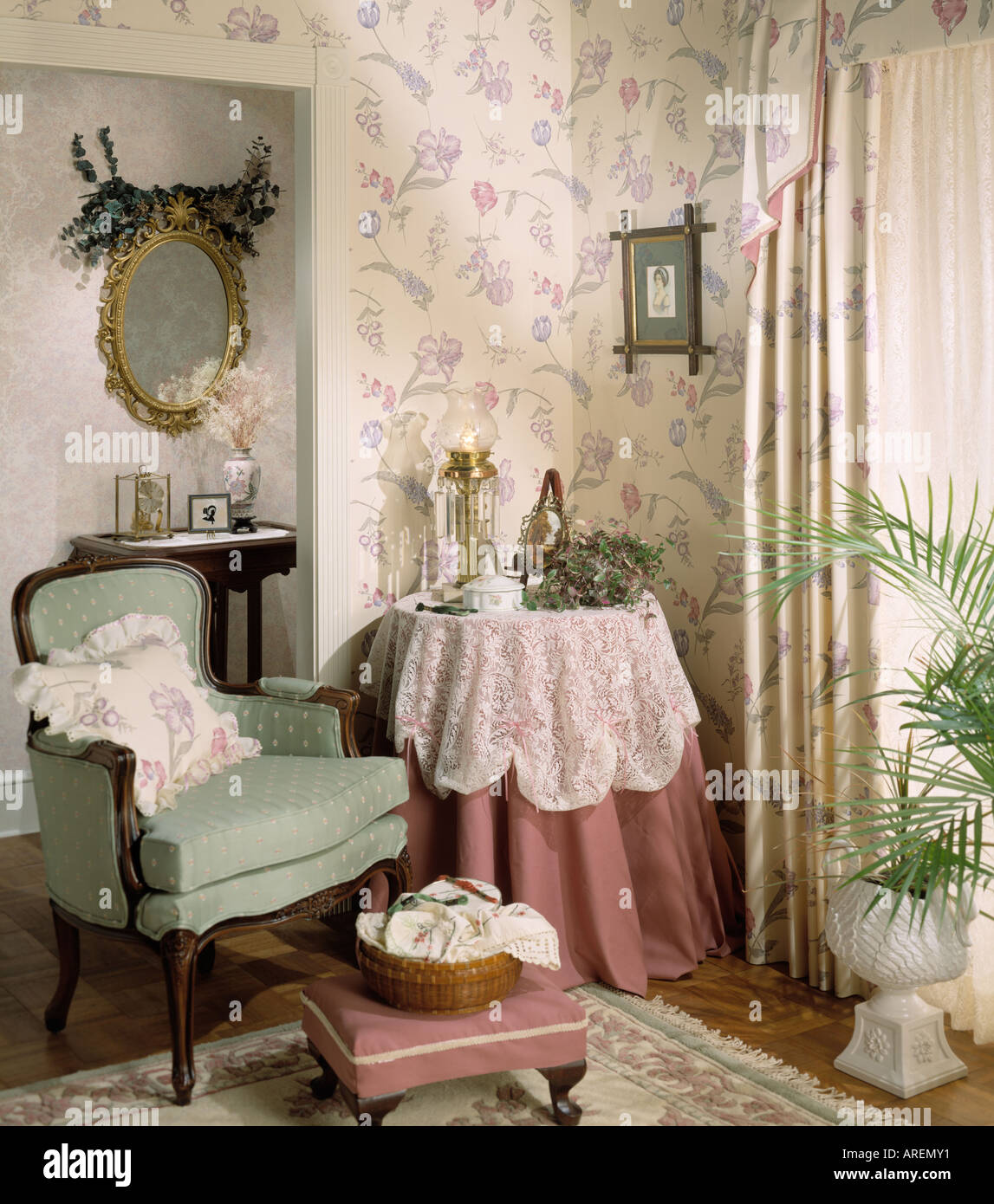 Wonderful Interior Family Living Room Foot Stool Accessories Wall Mirror Lace Table  Cover Cloth Sewing Basket Pillow