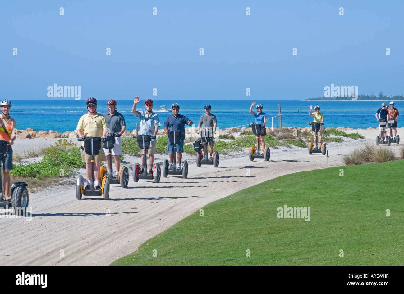 Tourist riding the Segway personal transport vehicle at a resort Stock Photo