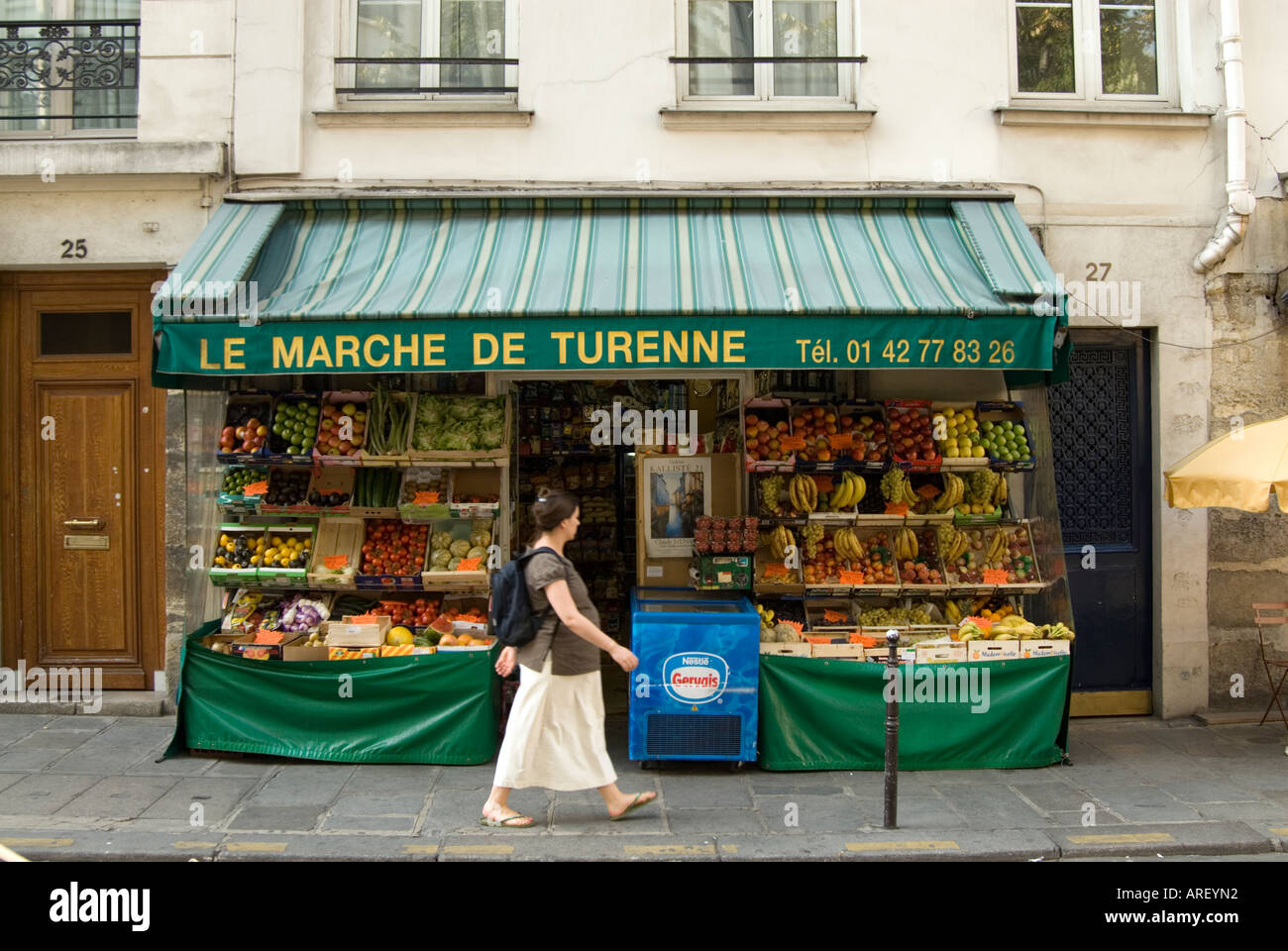 Small Local Grocery Shop With Fruit And Vegetables Under Its Awning In Le Marais Paris France