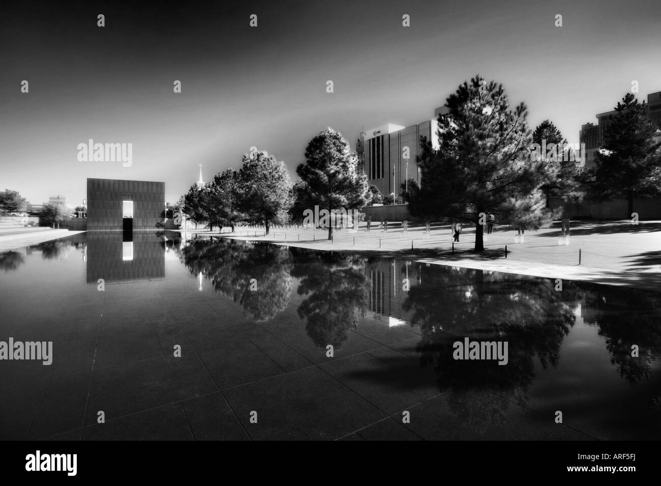 Oklahoma City Memorial, Reflecting Pool, 3/4 of an inch deep, the calming water of this pool stands where 5th Street - Stock Image