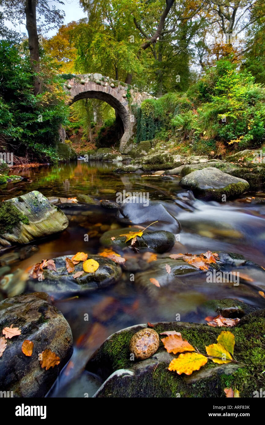 Foley's Bridge, Tollymore forest park. Stock Photo
