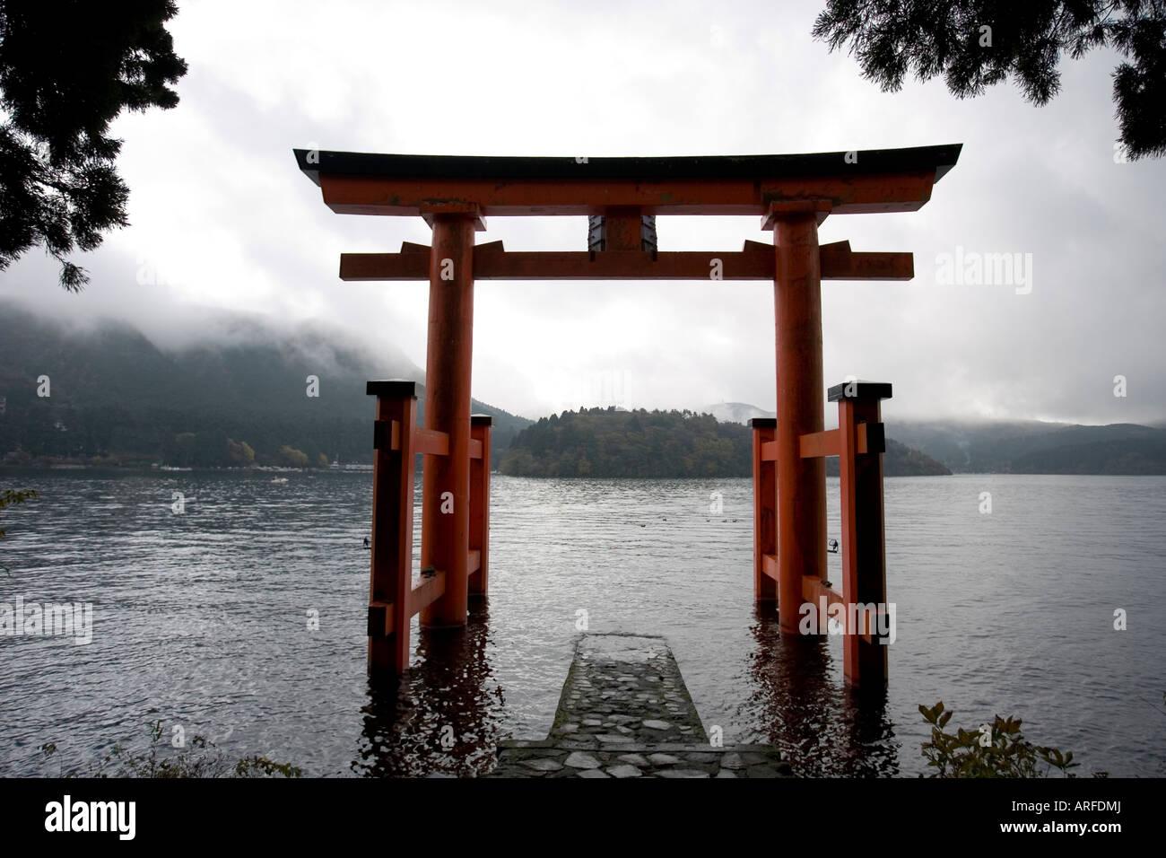 red torri gate at the foot of Mt Komagatake lake Ashi Kanagawa prefecture Japan - Stock Image