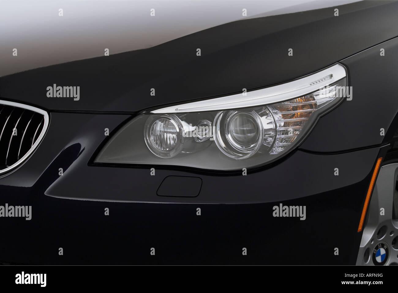 2008 BMW 5-series 535xi in Blue - Headlight Stock Photo: 16041531