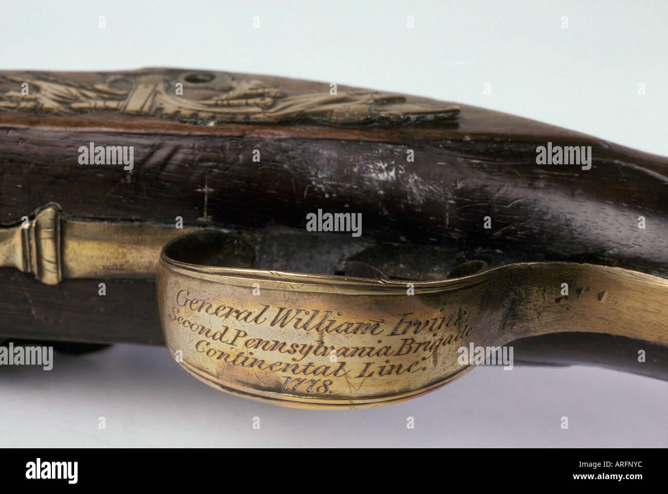 close up engraved trigger mechanism pistol revolutionary war