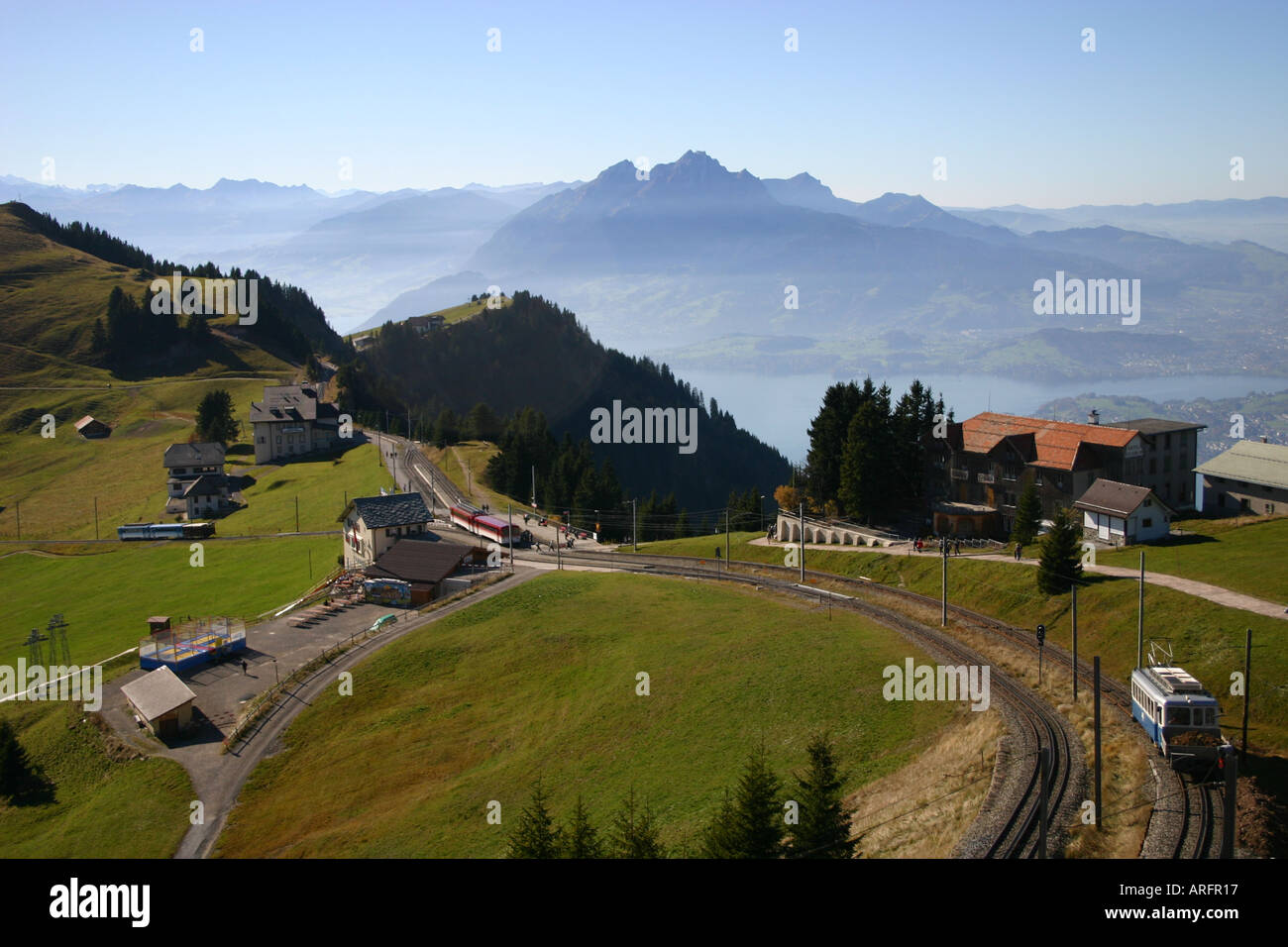 View to Mount Pilatus from near the top of the Rigi mountain. - Stock Image