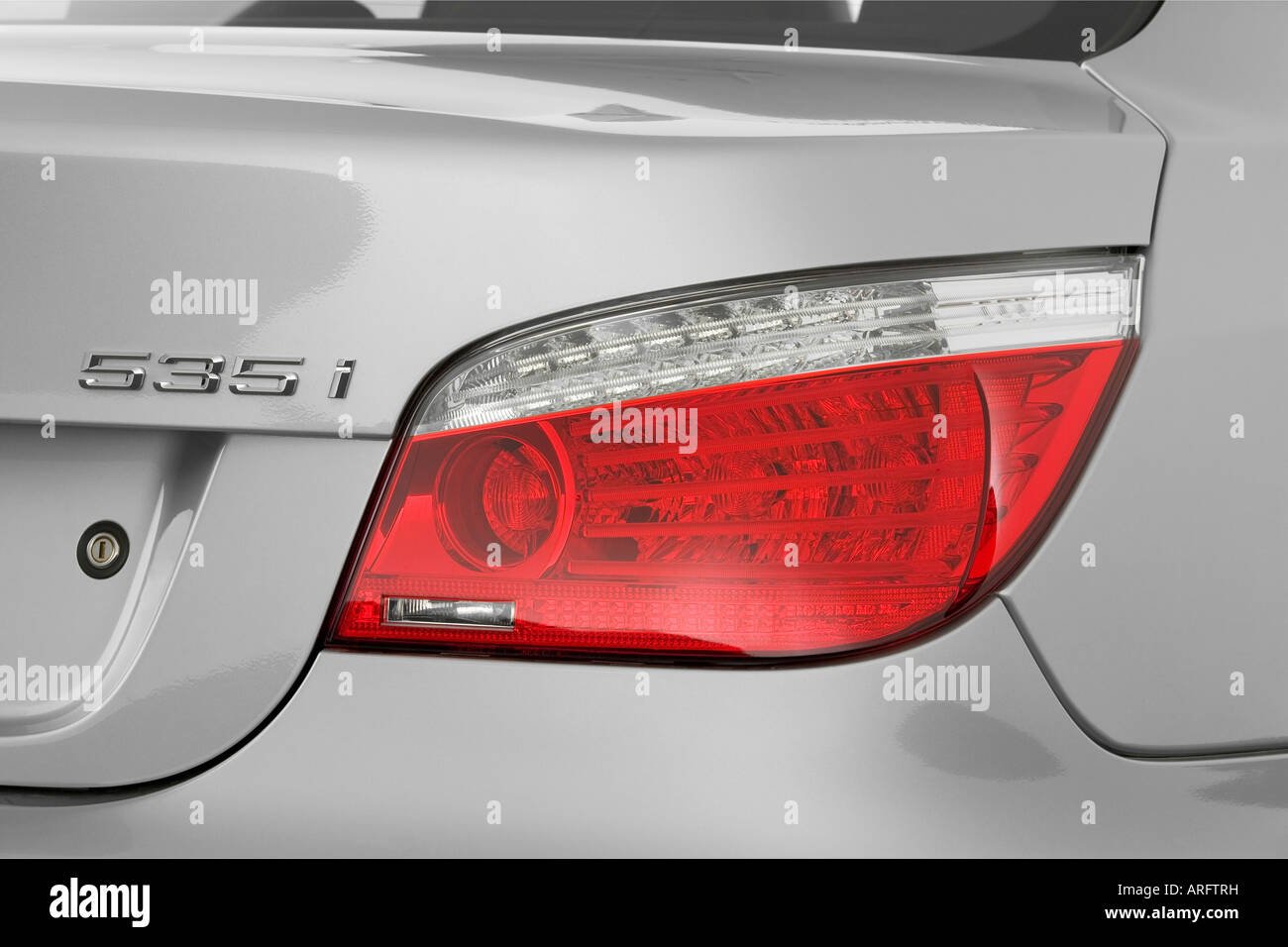 2008 BMW 5-Series 535i in Silver - Tail light Stock Photo