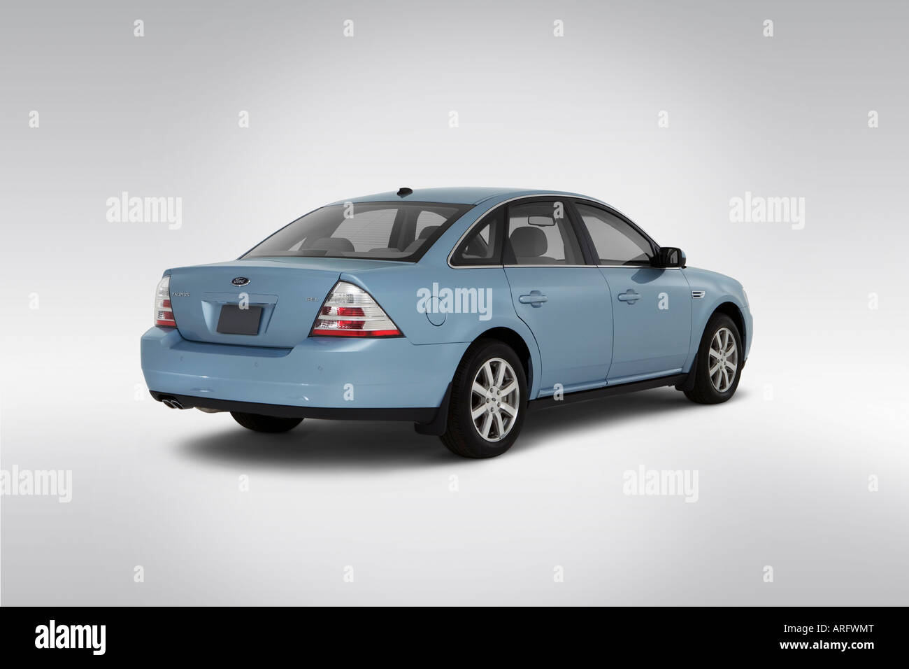 2008 ford taurus sel in blue rear angle view