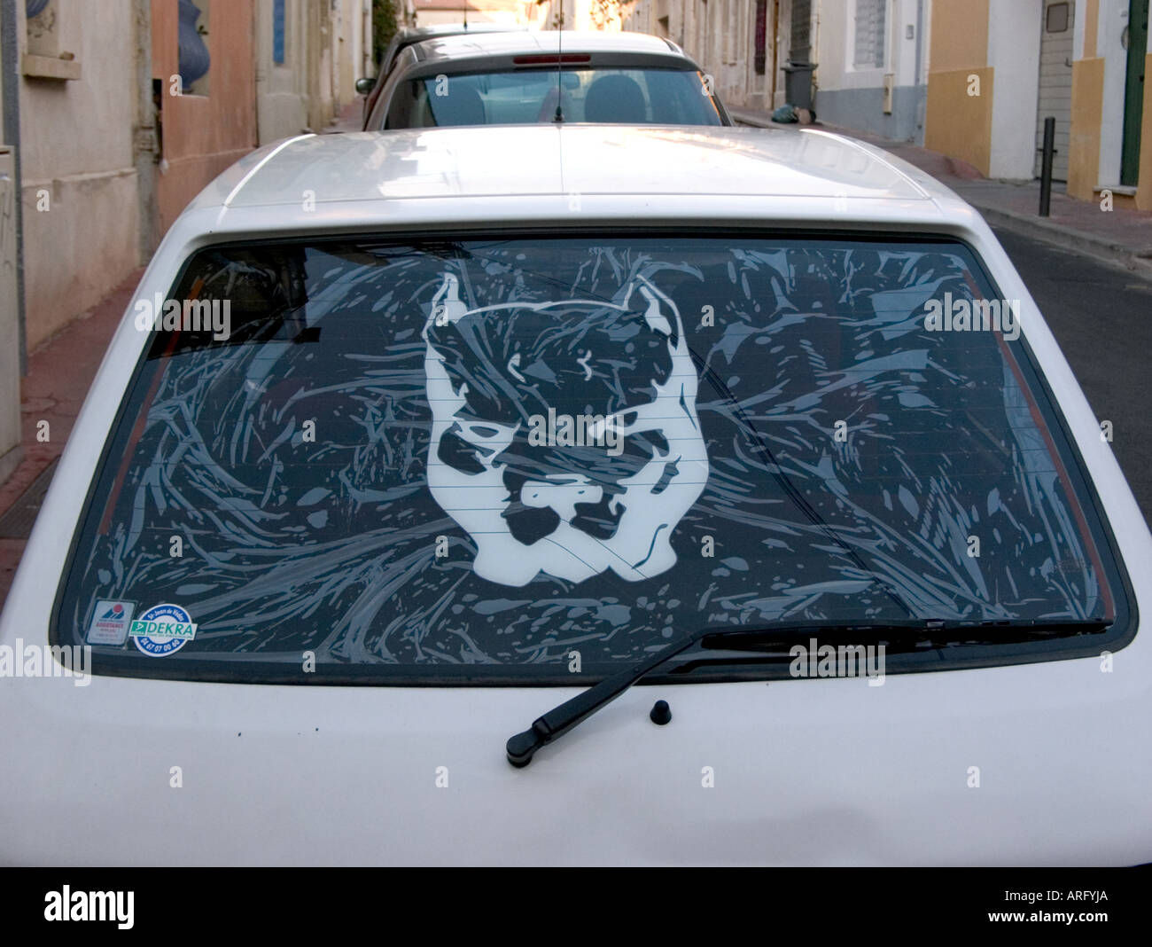 A close up of back window in small car bearing large sticker of pit bull terrier