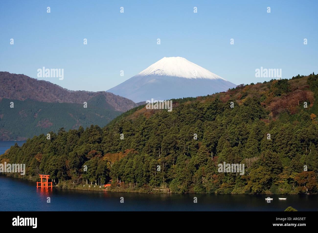 Distant view of Mt Fuji from lake Ashi Kanagawa prefecture Japan - Stock Image