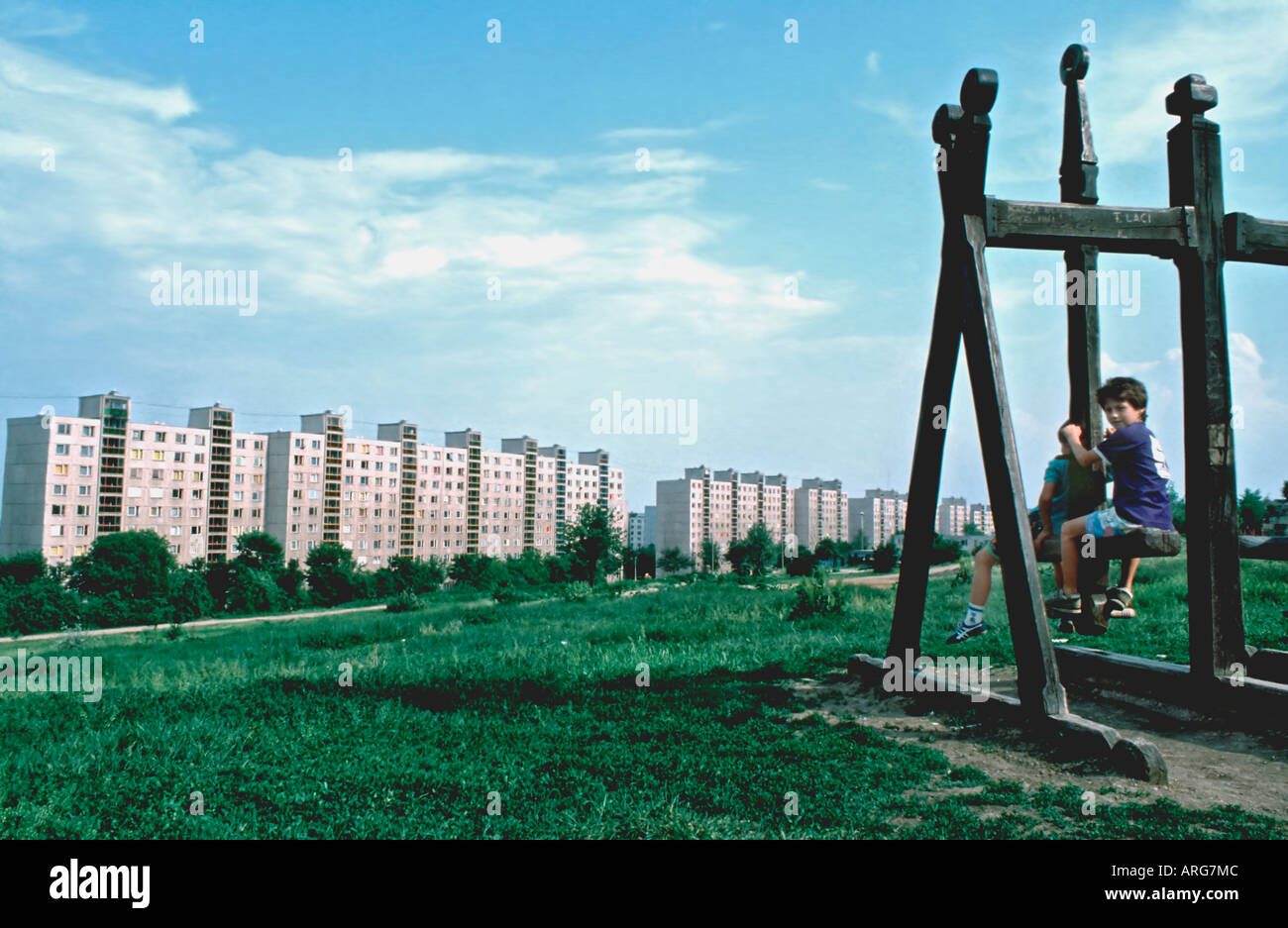 "MILKOLC, HUNGARY, Hi Rise Public Housing Apartment Complex ""Council Estate"" Eastern Europe Stock Photo"