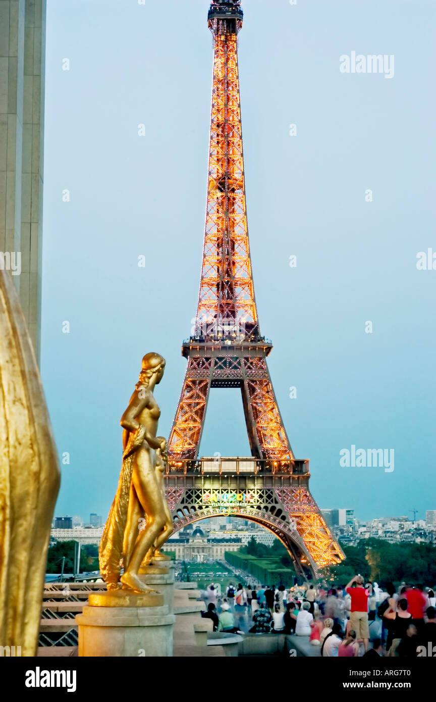 paris france monuments eiffel tower lit up with sparkling