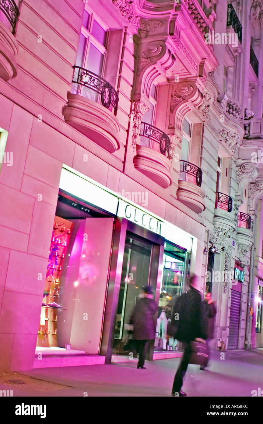 Paris France Luxury Stores Gucci Lit Up At Night Christmas Stock Photo Alamy