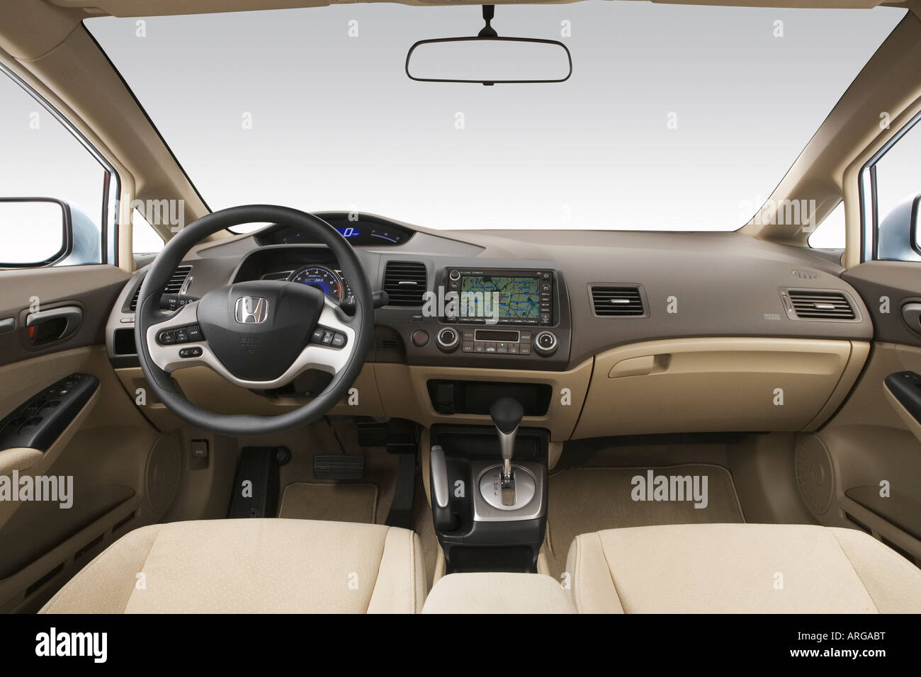 2007 Honda Civic Hybrid In Blue   Dashboard, Center Console, Gear Shifter  View