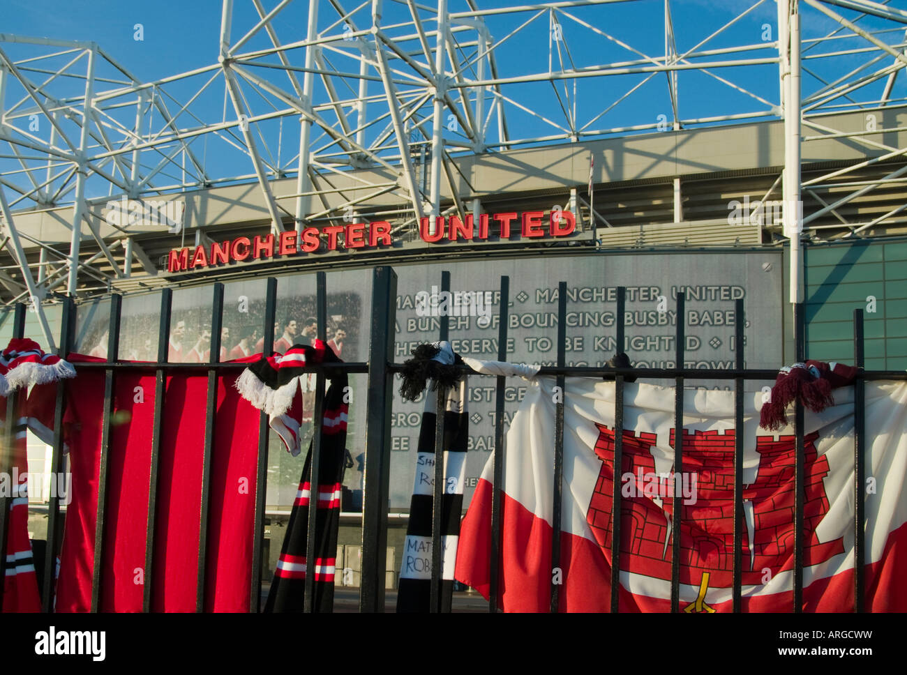 Manchester United's Old Trafford Ground Marking 50 Years Since The Munich Air Crash - Stock Image