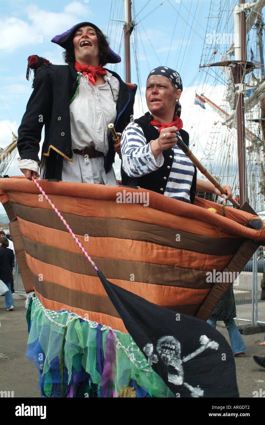 Pirate entertainers at the 2003 Edinburgh Festival of the Sea, Leith, Edinburgh, Scotland, UK - Stock Image