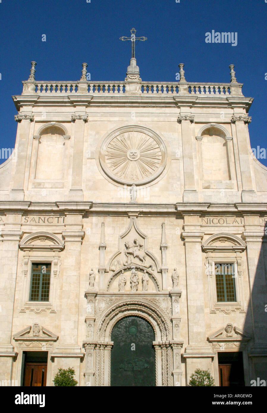 Facade of the Church of San Nicolo of Tolentino in the Marches, le Marche , Italy - Stock Image