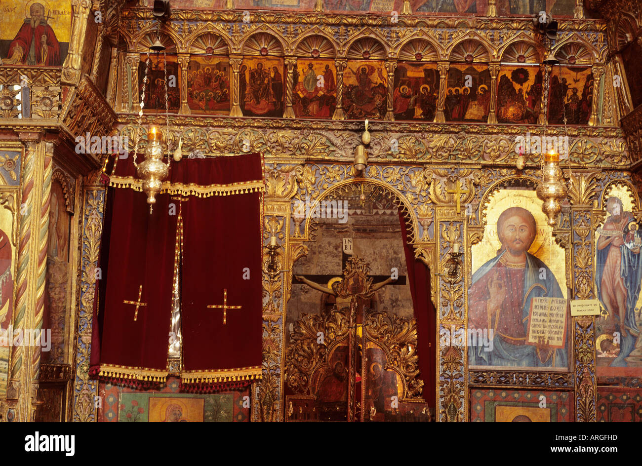 Detail of the decorated iconostasis in the Panagia Angeloktistos church which was rebuilt in the 12th century on Stock Photo