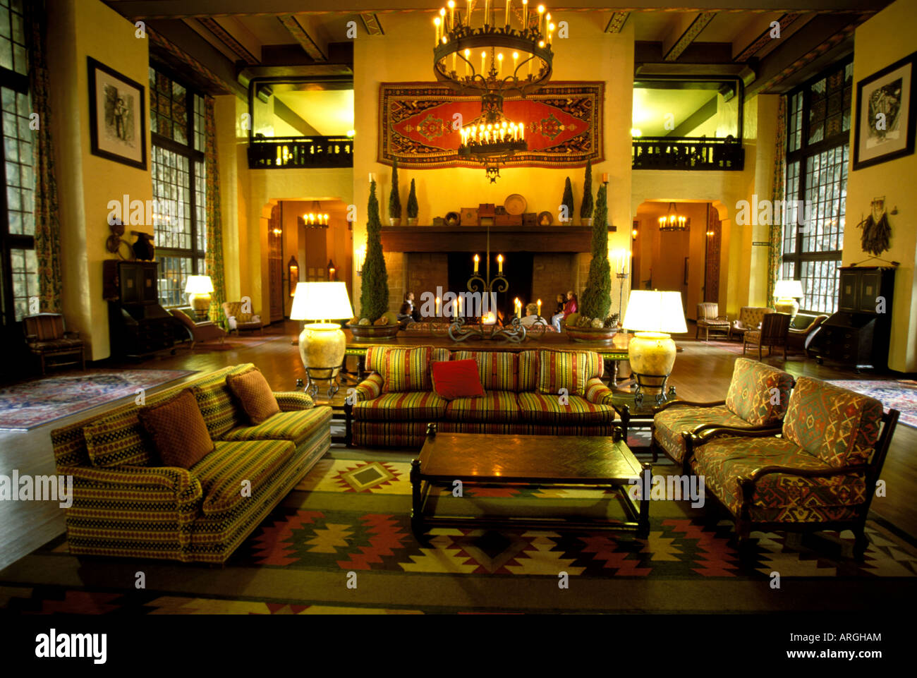 Native American motifs are used to decorate the Great Lounge in the ...
