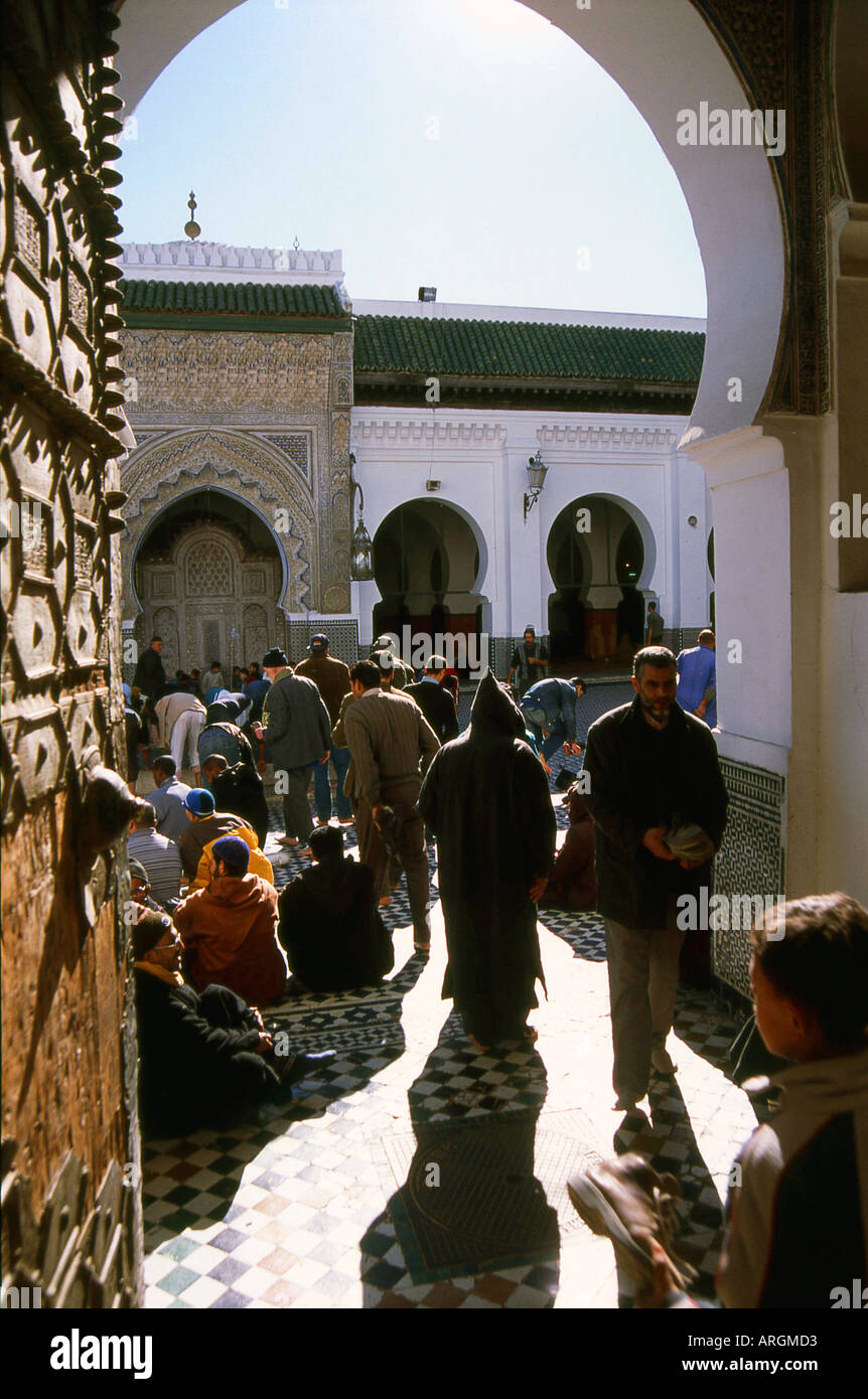 Entrance of Kairaouine Mosque Fes el Bali the Old Medina Fez Fès-Boulemane Northern Morocco Maghreb Moroccan North Africa - Stock Image