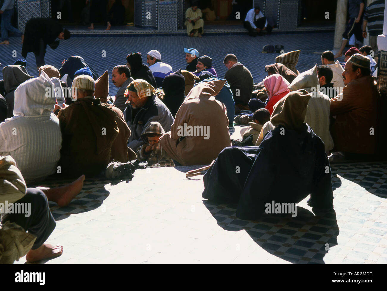 Prayers in Kairaouine Mosque Fes el Bali the Old Medina Fez Fès-Boulemane Northern Morocco Maghreb Moroccan North Africa - Stock Image