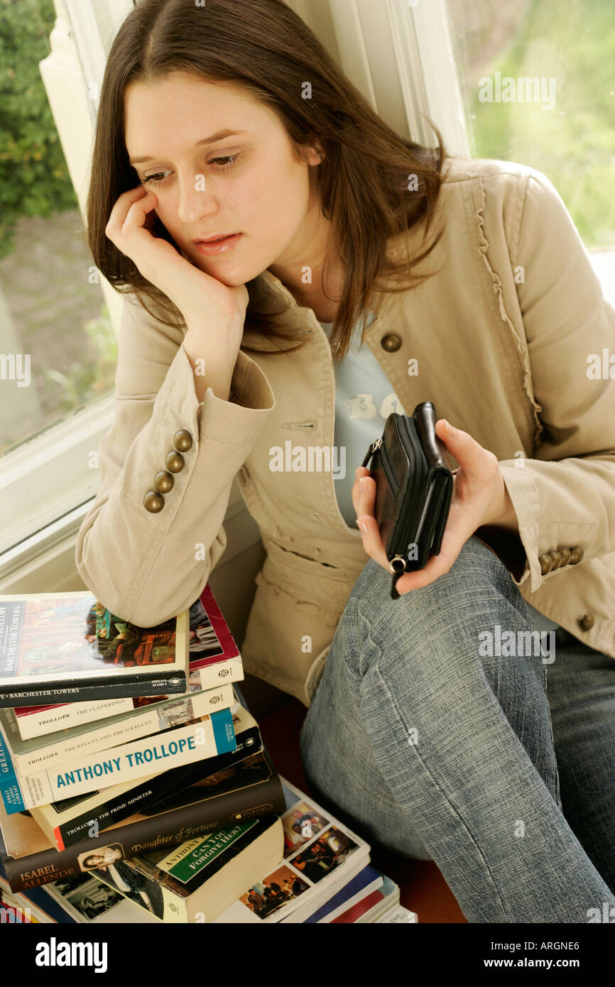Student checking finances - Stock Image