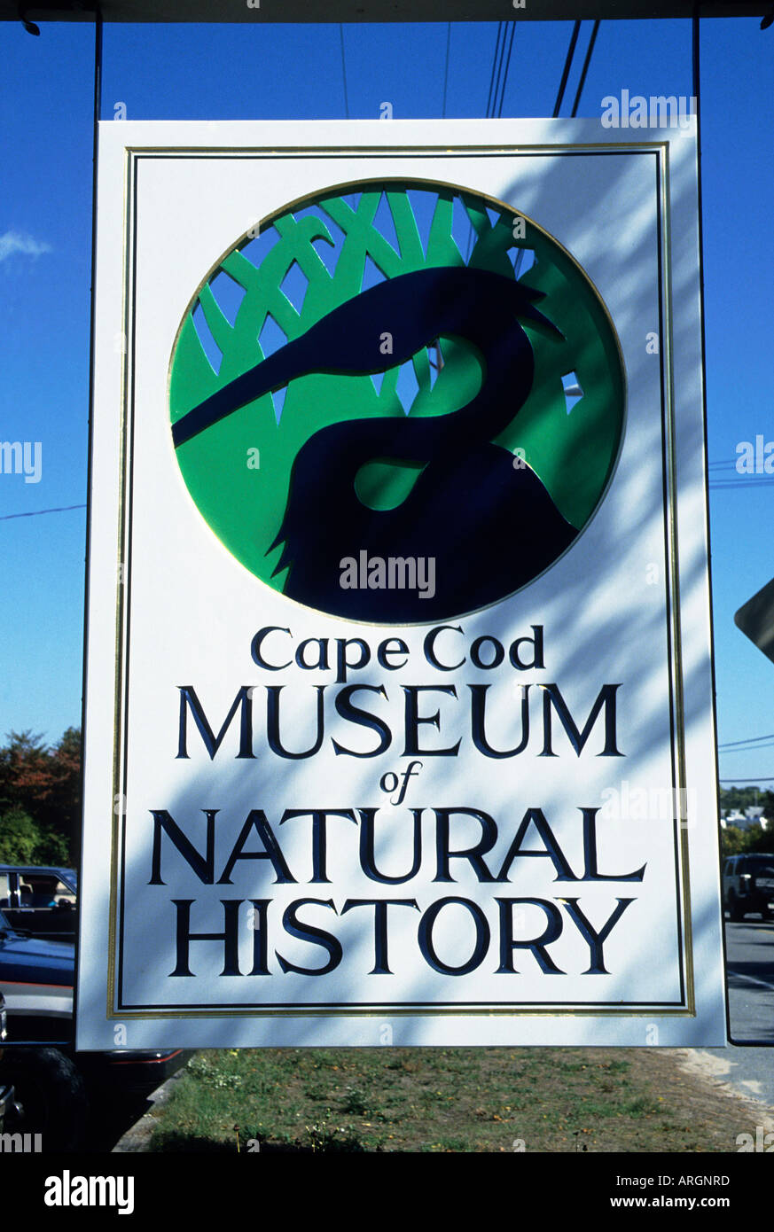 Detail of a notice featuring a stylised bird at the entrance to the Cape Cod Museum of Natural History in the small town of Brewster on the north coast of Upper Cape Cod - Stock Image