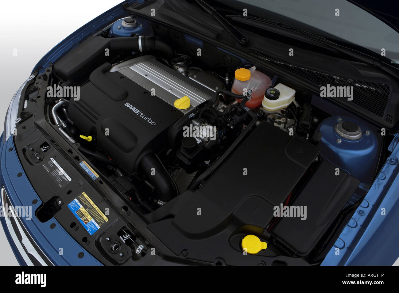2007 Saab 9-3 2 0T Sport Combi in Blue - Engine Stock Photo