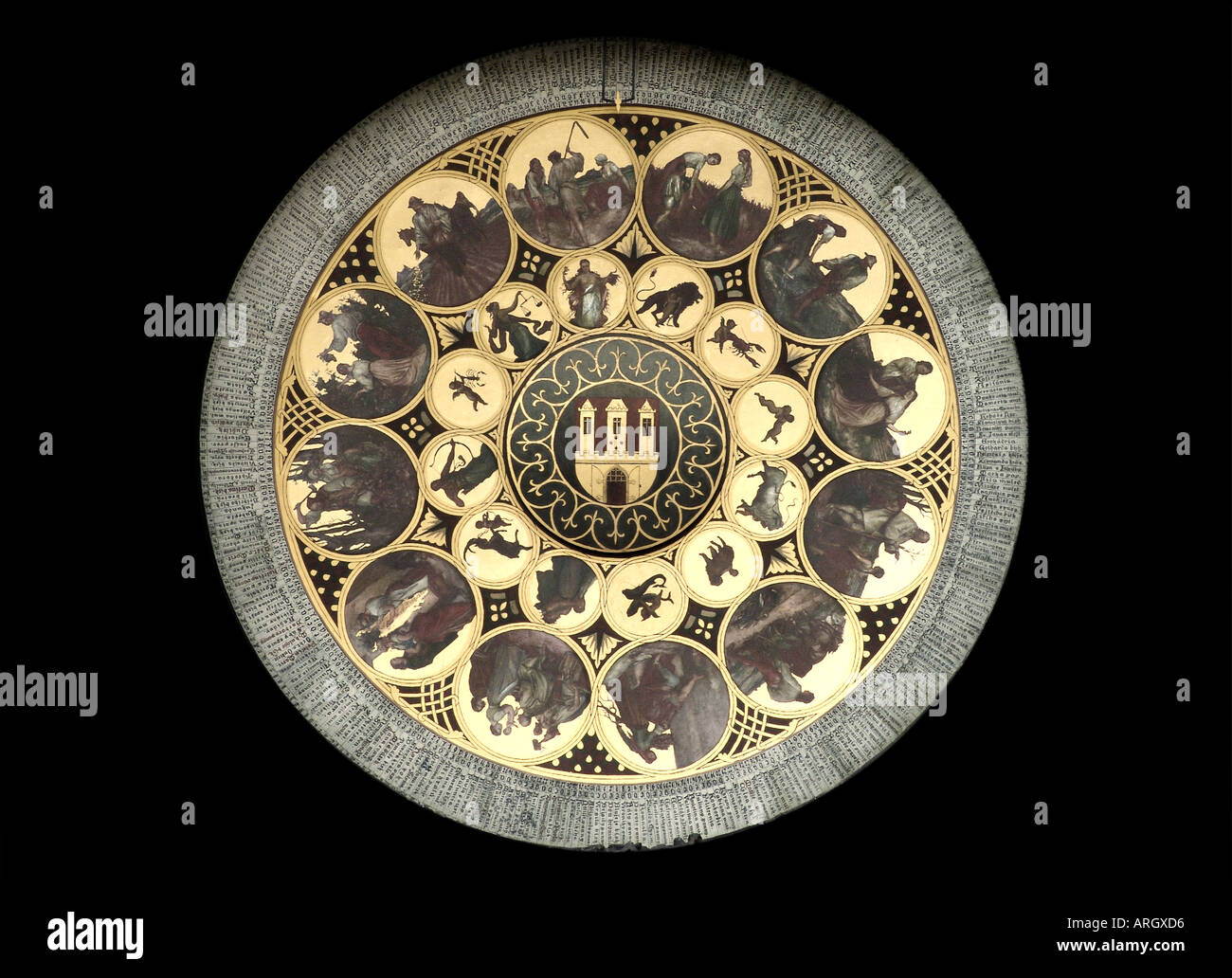 Detail of Famous Astronomical Clock Old Square in Prague, Czech Republic.  Cutout on black background - Stock Image