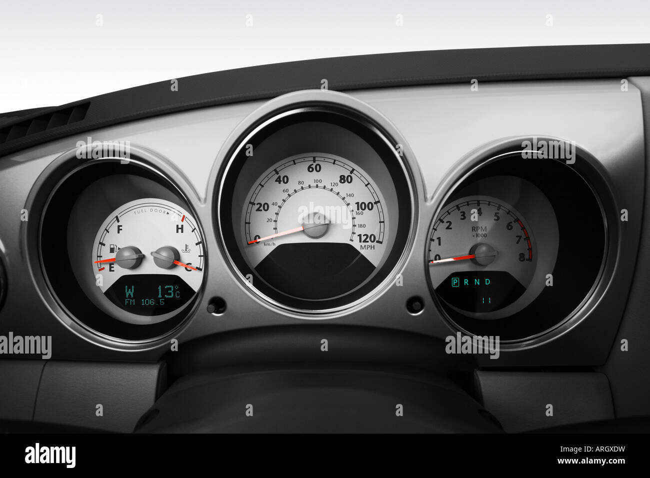 Car Chrysler Pt Cruiser Convertible Stock Photos Fuel Filter 2007 Spring Special In White Speedometer Tachometer Image