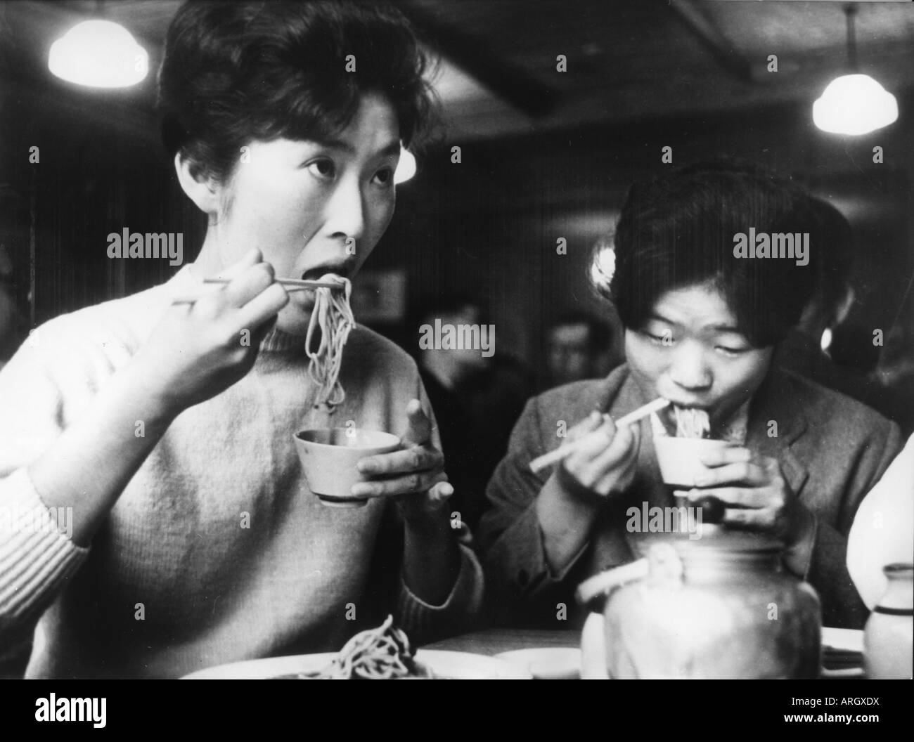 geography / travel, Japan, people, women, two women eating noodles, circa 1960, Additional-Rights-Clearances-NA - Stock Image