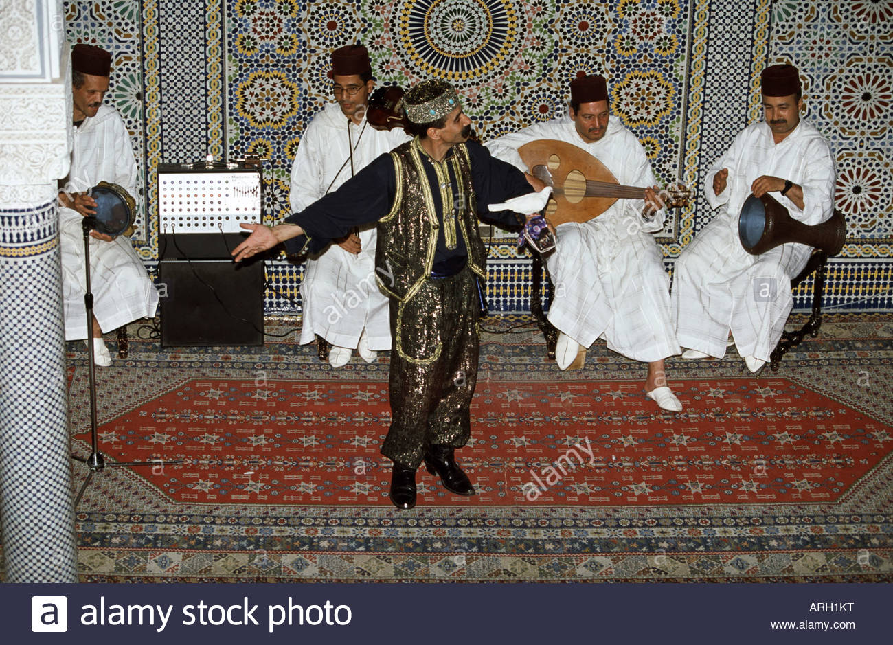 Musical group performing in a show, Meknes, Morocco - Stock Image