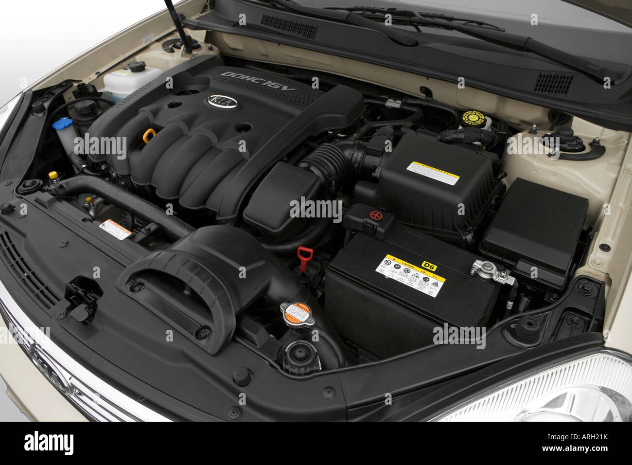 ... 2007 kia optima lx in beige engine stock photo 16053870 alamy ...